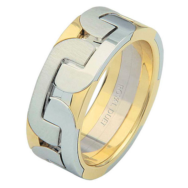 Item # 68755101E - 18 kt two-tone gold, comfort fit, 7.3 mm wide, wedding ring. The band has a beautiful combination of white and yellow gold. There is a mix of brushed and polished finishes. Other finishes may be selected or specified.