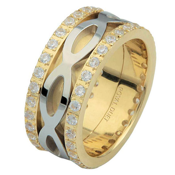 Item # 6875610DE - 18 kt two-tone gold, comfort fit, 8.75 mm wide, diamond eternity ring. The band has a beautiful composition of white and yellow gold with diamonds accenting each side of the ring. It has about 1.05 ct tw round brilliant cut diamonds, that are VS1-2 in clarity and G-H in color. The diamond total weight may vary depending on the size of the ring.