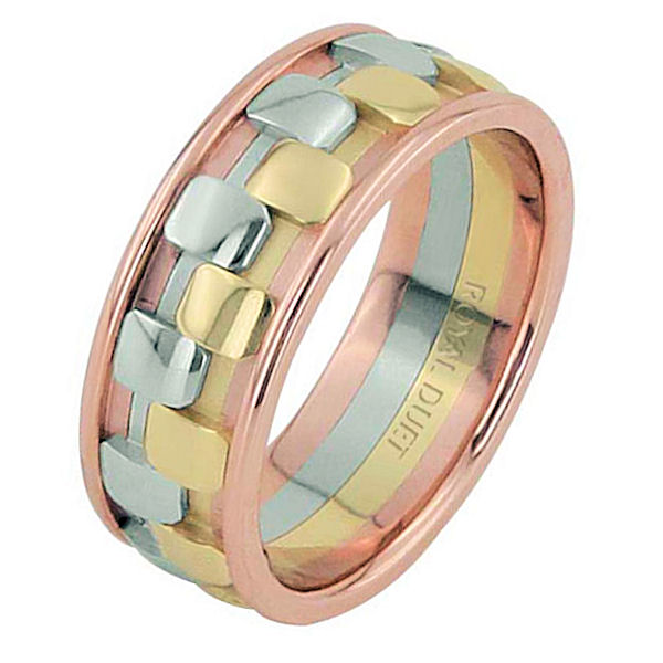 Item # 68757210 - 14 kt tri-color gold, comfort fit, 8.25 mm wide, wedding ring. The band has a beautiful combination of white, yellow, and rose gold. Different finishes may be selected or specified.