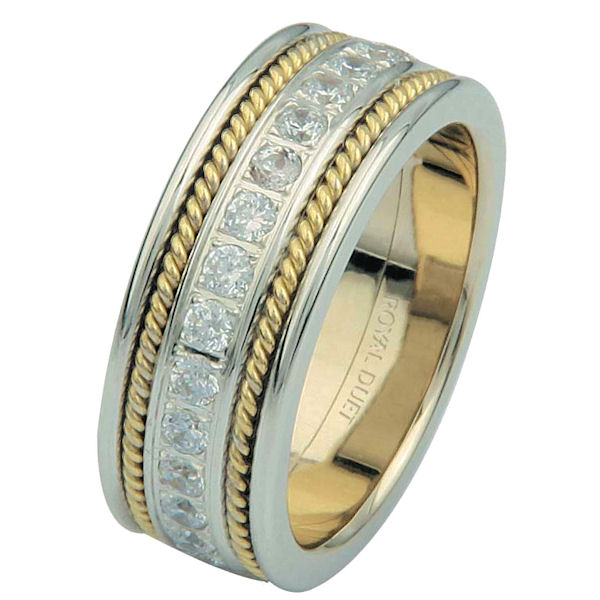 Item # 6875801D - 14 kt two-tone gold, comfort fit, 7.65 mm wide, diamond eternity ring. The band has a beautiful combination of white and yellow gold with diamonds set in the center. There are two hand crafted ropes on each side of the ring. The ring has about 1.02 ct tw round brilliant cut diamonds, that are VS1-2 in clarity and G-H in color.