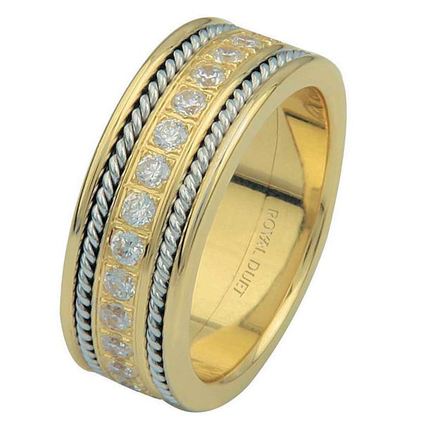 Item # 6875810D - 14 kt two-tone gold, comfort fit, 7.65 mm wide, diamond eternity ring. The band has a beautiful combination of white and yellow gold with diamons set in the center. There are two hand crafted ropes on each side of the ring. The ring has about 1.02 ct tw round brilliant cut diamonds, that are VS1-2 in clarity and G-H in color.