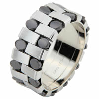 Item # 6875903W - White Gold & Black Rhodium Wedding Ring