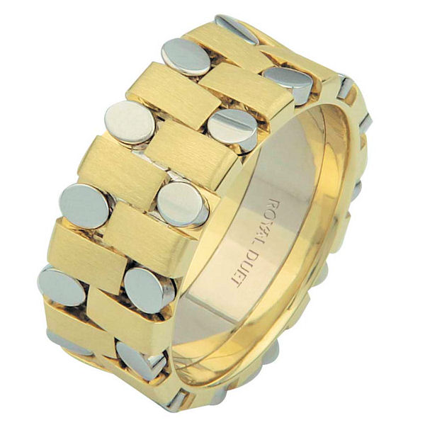 Item # 6875910 - 14 kt two-tone gold, comfort fit, 8.1 mm wide, wedding ring. The band has a unique composition of white and yellow gold together. There is a mix of brushed and polished finishes. Other finishes may be selected or specified.