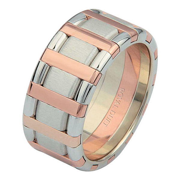 Item # 68760020RE - 18 kt rose and white gold, comfort fit, 9.15 mm wide, wedding ring. The band has a beautiful combination of rose and white gold. There is a mix of brushed and polished finishes. Other finishes may be selected or specified.