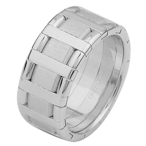 Item # 68760101W - 14 kt white gold, comfort fit, 9.15 mm wide, wedding ring. The band has a beautiful design made with white gold. There is a mix of brushed and polished finishes. Other finishes may be selected or specified.