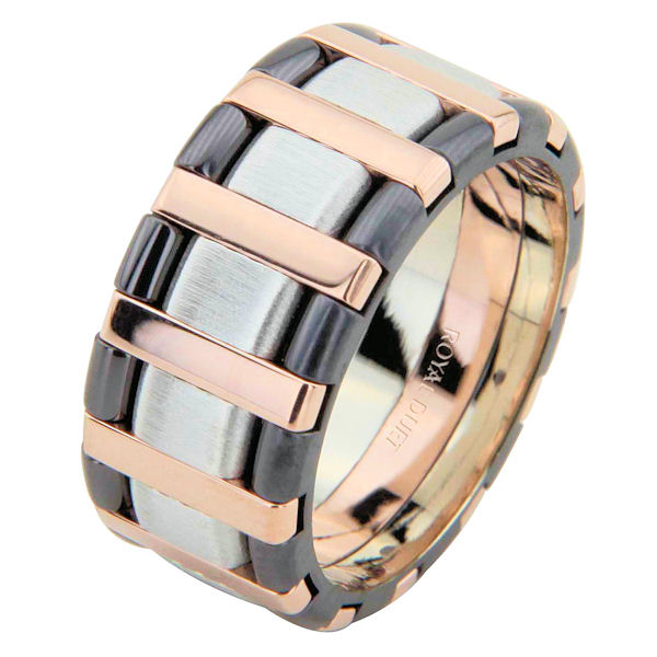 Item # 68760320E - 18 kt rose and white gold with black rhodium, comfort fit, 9.15 mm wide, wedding ring. The band has a beautiful combination of white and rose gold with black rhodium. There is a mix of brushed and polished finishes. Other finishes may be selected or specified.