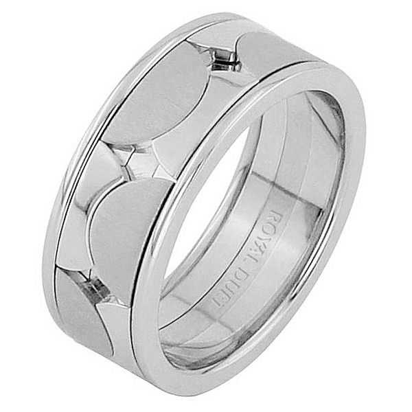 Item # 68762012WE - 18 kt white gold, comfort fit, 8.3 mm wide, wedding ring. The band has a unique design made with white gold. Different finishes may be selected or specified.