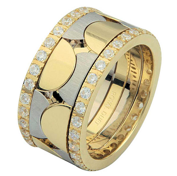 Item # 68762101D - 14 kt two-tone gold, 10.25 mm wide, comfort fit, diamond eternity ring. The band has a unique combination of white and yellow gold with diamonds accenting each side of the ring. It has about 1.05 ct tw round brilliant cut diamonds, that are VS1-2 in clarity and G-H in color. The diamond total weight may vary depending on the size of the ring.