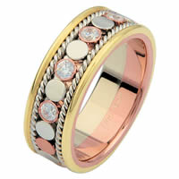 Item # 687631020D - 14 K Tri-Color Diamond Eternity Ring