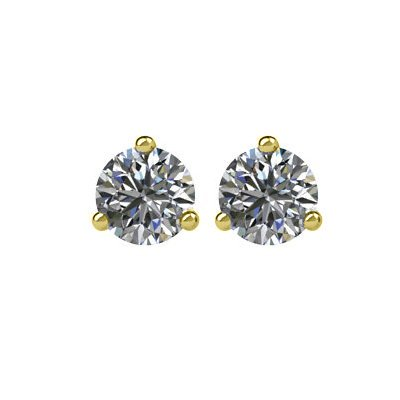 Item # 730203 - 14K gold 3-prongs, friction back diamond earrings. Diamonds together weigh approximately 0.20ct and are graded as SI in clarity G-H in color.