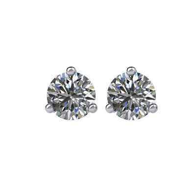 Item # 730203W - 14K white gold, 3-prongs, friction back diamond earrings. Diamonds together weigh approximately 0.20ct and are graded as SI in clarity G-H in color.