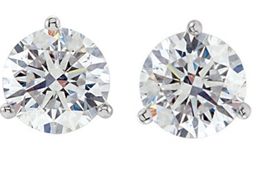 Item # 730253WE - 18K white gold, 3-prongs, friction back diamond earrings. Diamonds together weigh 0.25ct and are graded as SI in clarity G-H in color.