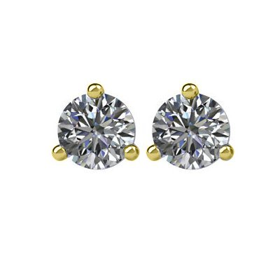 Item # 730333E - 18K gold, 3-prongs, friction back diamond earrings. Diamonds together weigh approximately 0.33ct and are graded as SI in clarity G-H in color.