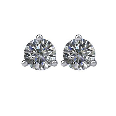 Item # 730333W - 14K white gold, 3-prongs, friction back diamond earrings. Diamonds together weigh approximately 0.33ct and are graded as SI in clarity G-H in color.