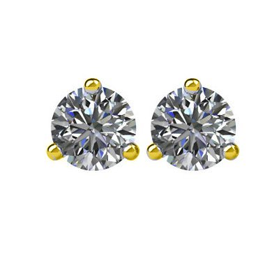 Item # 730503 - 14K gold, 3-prongs, friction back diamond earrings. Diamonds together weigh approximately 0.50ct and are graded as SI in clarity G-H in color.