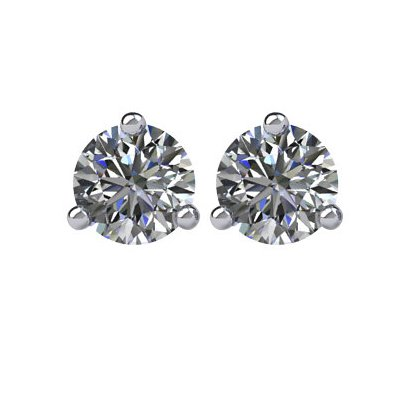 Item # 730503W - 14K white gold, 3-prongs, friction back diamond earrings. Diamonds together weigh approximately 0.50ct and are graded as SI in clarity G-H in color.