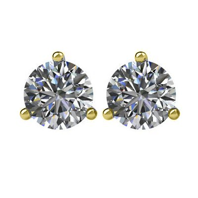 Item # 730753 - 14K gold, 3-prongs, friction back diamond earrings. Diamonds together weigh approximately 0.75ct and are graded as SI in clarity G-H in color.