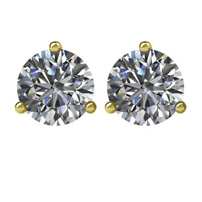 Item # 731003 - 14K gold, 3-prongs, friction back diamond earrings. Diamonds together weigh approximately 1.00ct and are graded as SI in clarity G-H in color.