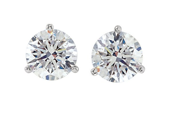 Item # 731003PP - Platinum 3-prongs friction back diamond earrings. Diamonds together weigh 1.0ct and are graded as VS in Clarity G-H in Color.