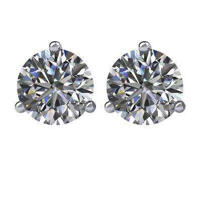 Item # 731003W - 14K white gold, 3-prongs, friction back diamond earrings. Diamonds together weigh approximately 1.00ct and are graded as SI in clarity G-H in color.