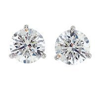 Item # 731503W - 1.50ct 3-Prongs Diamond Earrings