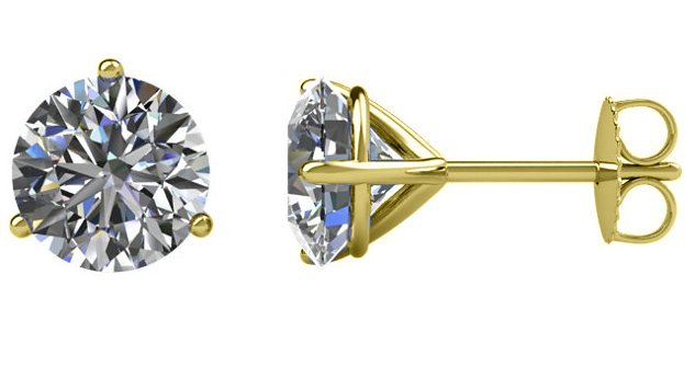 3-Prongs Round Diamond Earrings 2.0ct.
