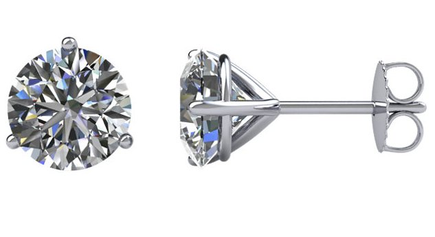 2.0ct. Round Diamond Stud Earrings