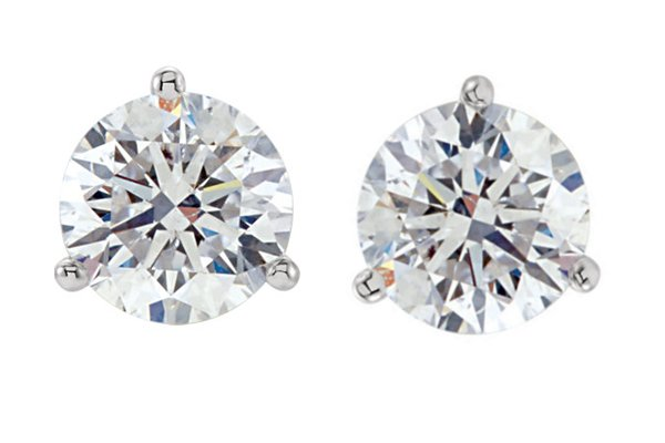 Item # 732003PP - Platinum 3-prongs friction back diamond stud earrings. The diamonds together weigh 2.00ct and are graded as VS in Clarity G-H in Color.