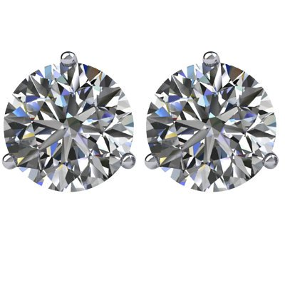 Item # 732003W - 14K white gold, 3-prongs, friction back diamond earrings. Diamonds together weigh approximately 2.0ct and are graded as SI in clarity G-H in color.