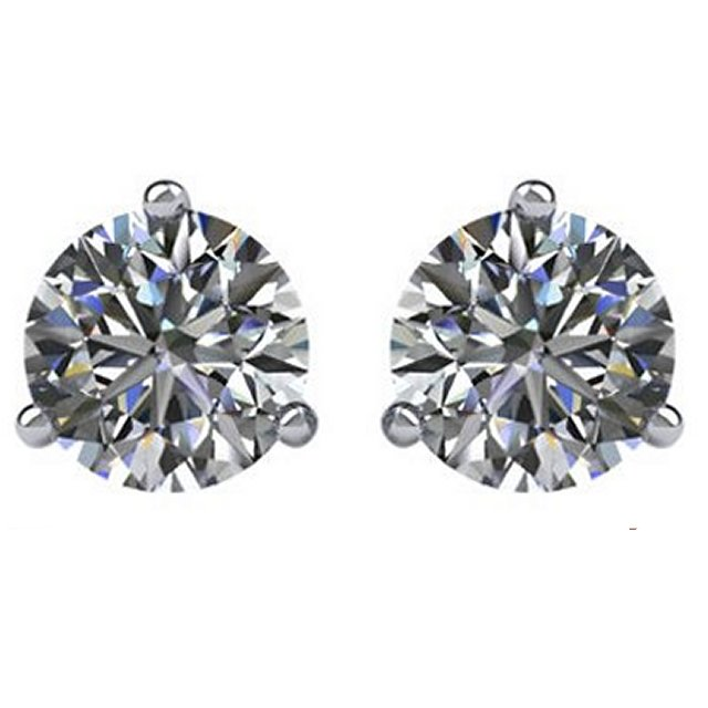 Item # 733003W - 14K white gold, 3-prongs, friction back diamond earrings. Diamonds together weigh approximately 3.0ct and are graded as SI in clarity G-H in color.