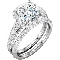 Halo Engagement Ring and Matching Band style=