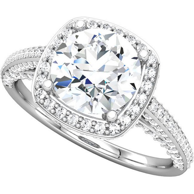 Item # 74603AW View 3 - Halo Engagement Ring