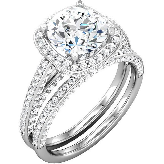 Item # 74603AW View 4 - Halo Engagement Ring