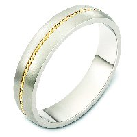 Item # 7546E - 18K Two Tone Wedding Band