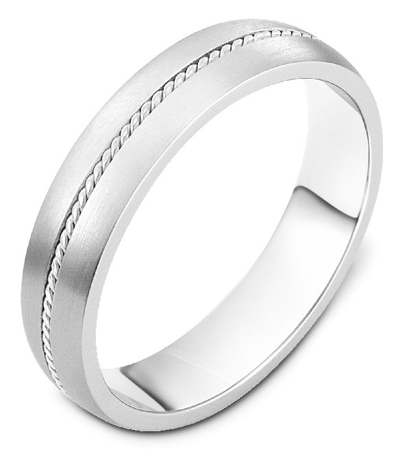 Item # 7546W - 14K white gold, 5.0mm wide, comfort fit wedding band.