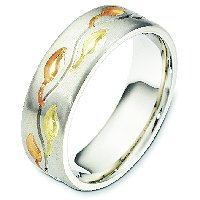 Item # 7741E - 18K Tri Color Wedding Band