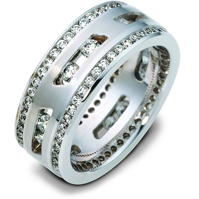 White Gold14K Gold Floating Diamonds Wedding Band