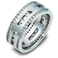 18K White Gold Sliding Diamonds Wedding Band
