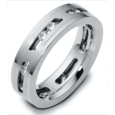 14K White Gold Sliding Diamonds Wedding Band