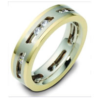14K Gold Sliding Diamonds Wedding Band
