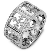 18K White Gold Diamond Cross Wedding Band