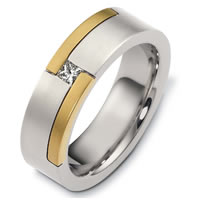 18KTwo-Tone Gold Diamond Wedding Band