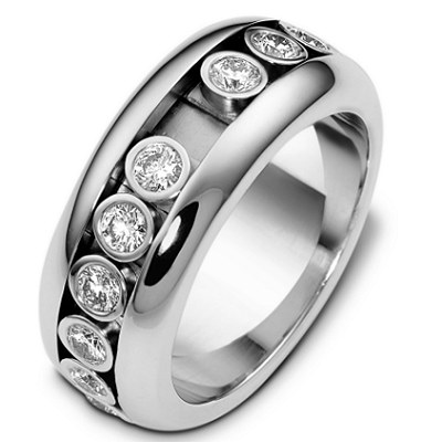 18K Gold Sliding Diamonds Wedding Ring