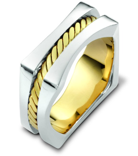Two Tone Square Wedding Band