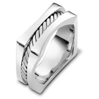 18K White Gold Square Wedding Band
