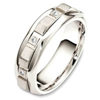 Palladium Contemporary Diamond Wedding Band