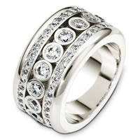 14K White Gold Diamond Eternity Band, Waterfall