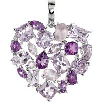 Item # A75361SI - Silver Amethyst Heart Necklace