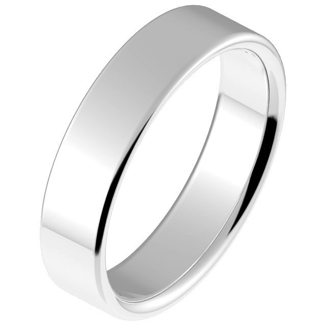 Silver 4.5mm Comfort Fit Wedding Ring