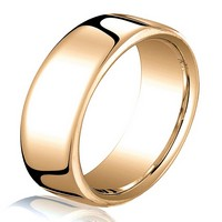 Item # B25853R - 14K Rose Gold 7.5mm Comfort Fit His and Hers Wedding Ring
